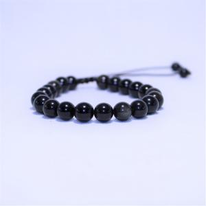 Bracelet obsidienne doree i19 2
