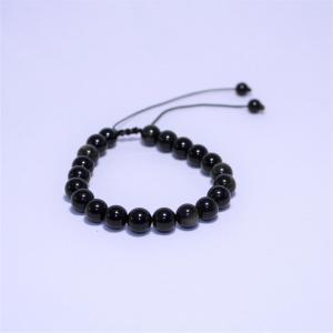 Bracelet obsidienne doree i19 3